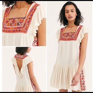 "Free People Day Glow Mini Dress in ""white sand"""